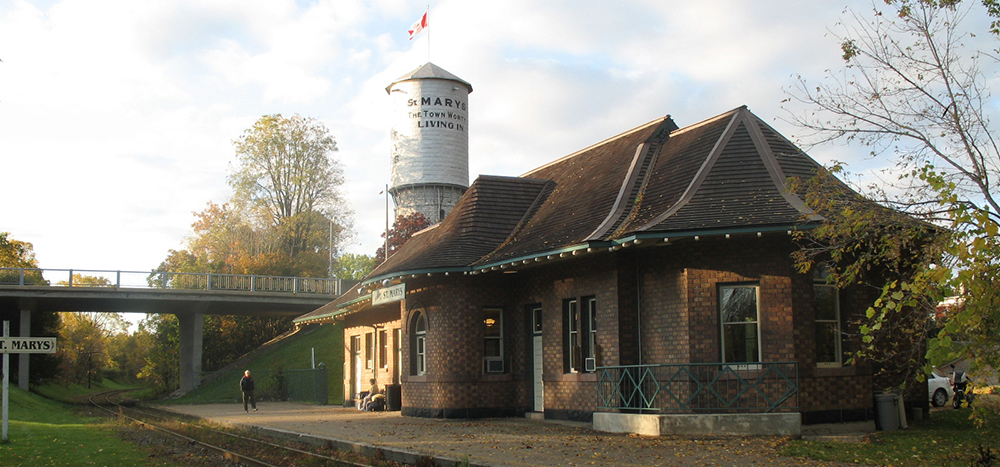St. Marys Station and water tower in background