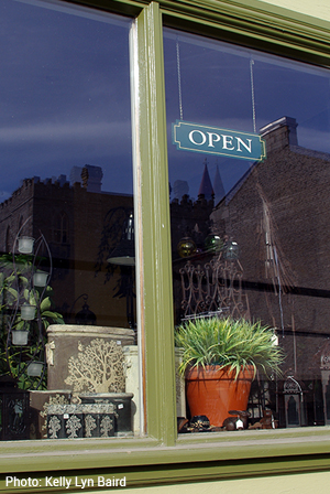 Store window with open sign