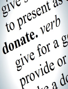 Word donate as shown in a dictionary