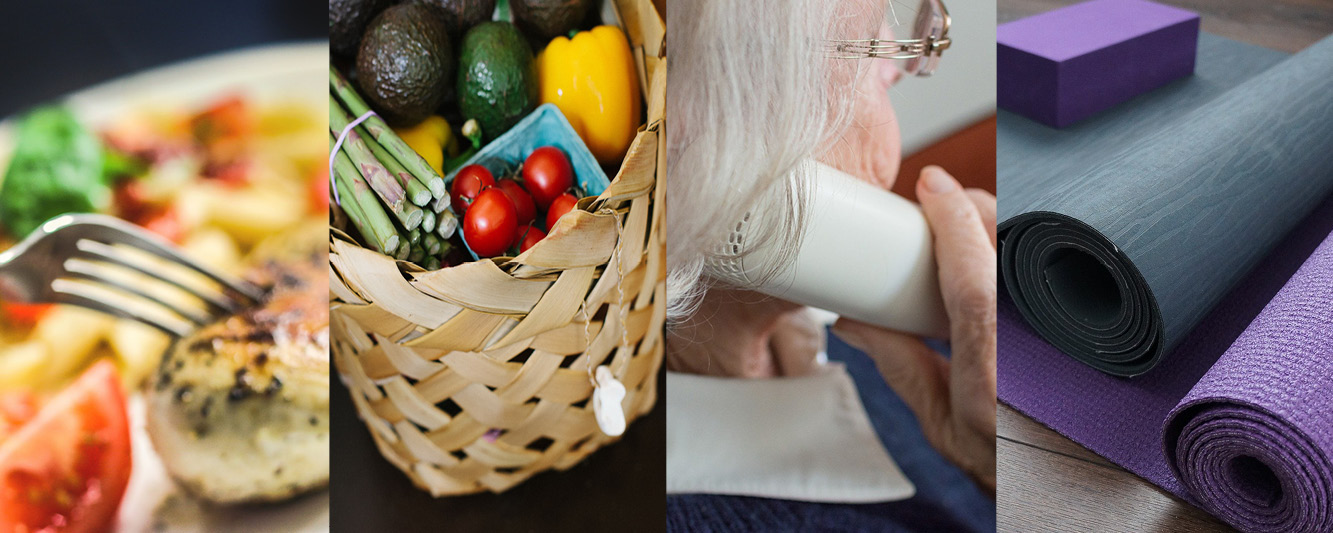 Collage of images, including food on a plate, a basket of groceries, a woman talking on the phone and yoga mats